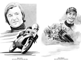 Watercolour paintings of all Riders World Champions